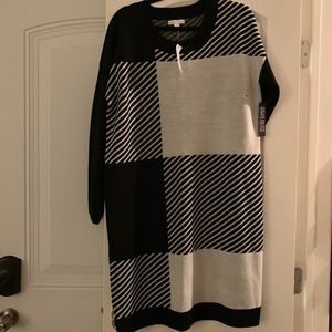 sweater dress black and gray